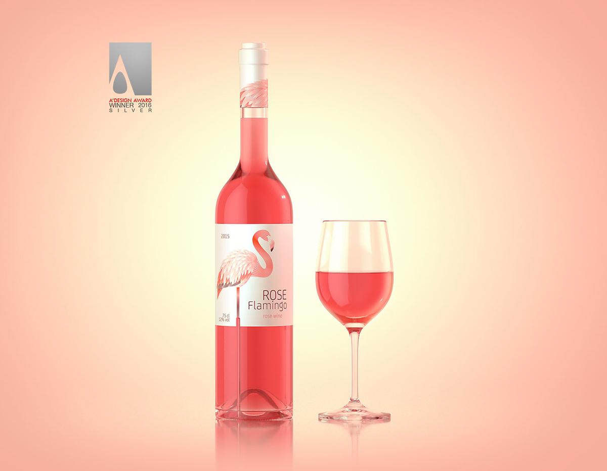 wine rose flamingo bottle design red White alcohol glass bird Label