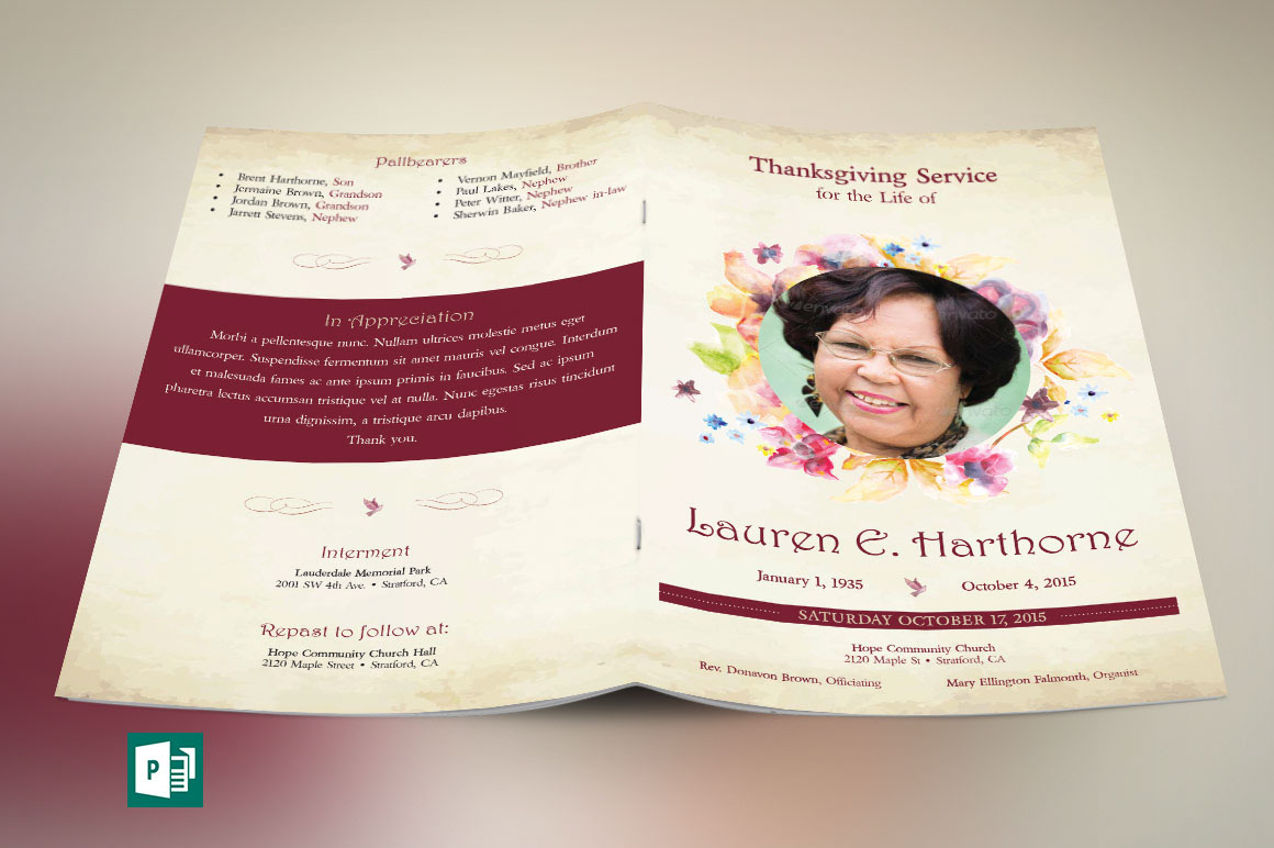 Watercolor Funeral Program Publisher Template On Behance  Funeral Poster Templates
