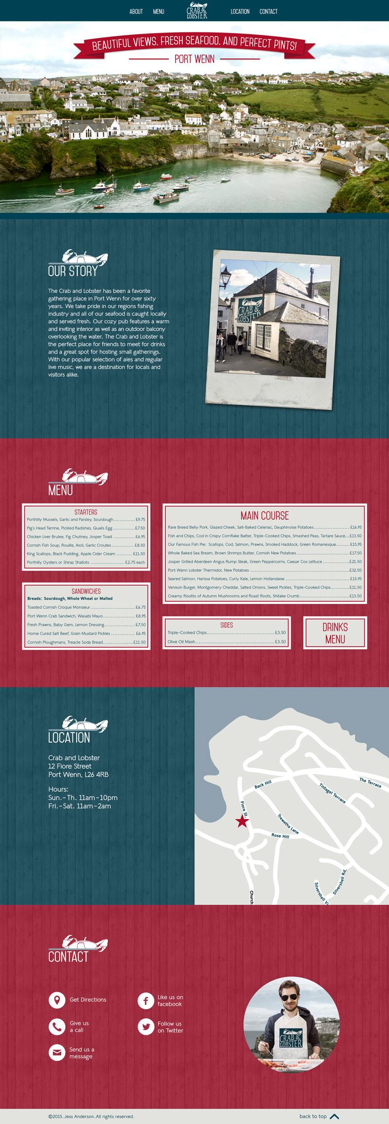 letterhead menu restaurant one page website