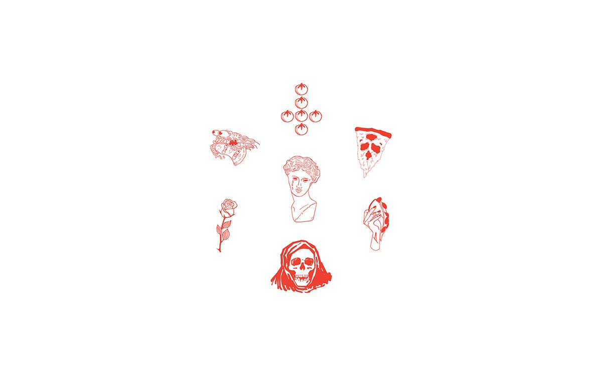 branding  Pizza restaurant Hospitality graphic design  identity print art direction  pizzeria design