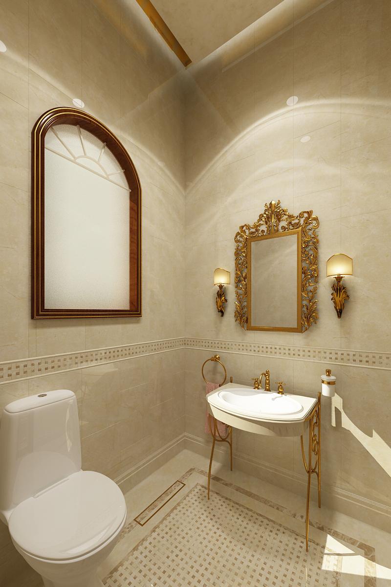 My 3d Room Design: Classical Powder Room / Washroom Design On Behance