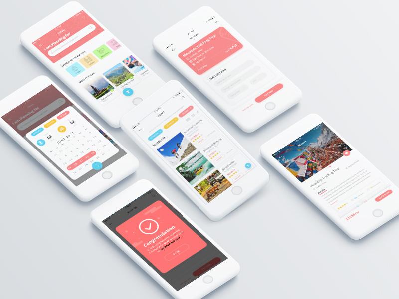 Travel app design on Behance