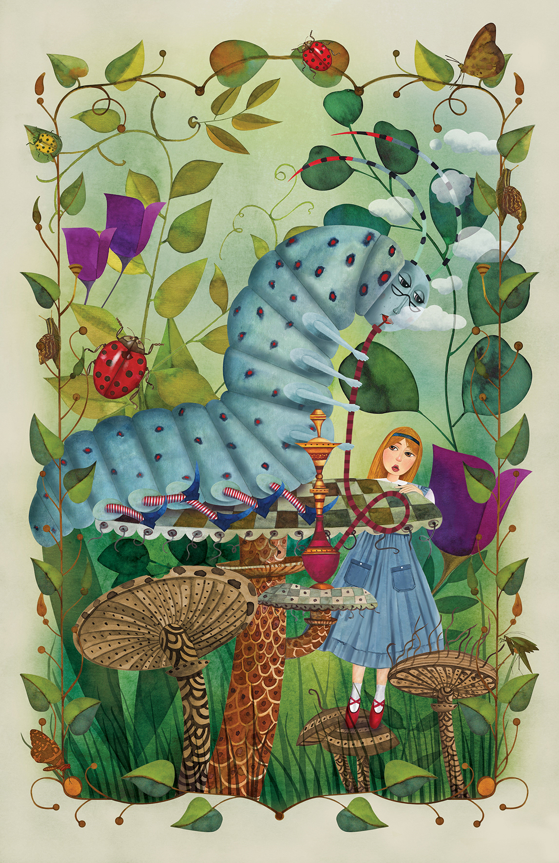 alice in wonderland book design book illustration Caterpillar fairytale girl ILLUSTRATION  photoshop plants