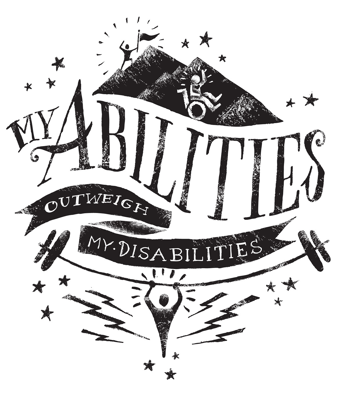 autism design tshirt booster wheelchair mountain abilites disabilities disability special needs stars strength dumbbell skills joy