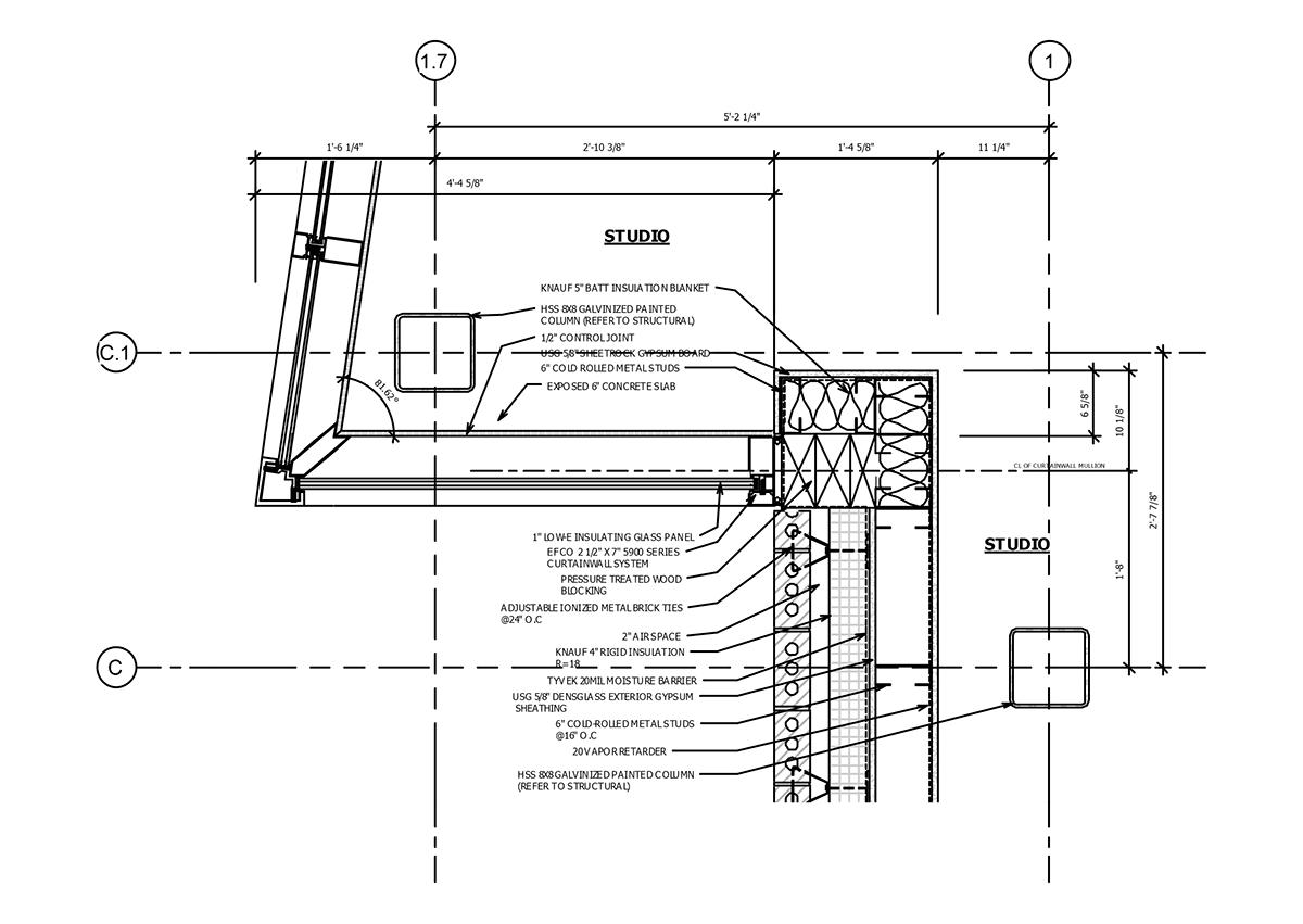 Metal Curtain Wall Details : Construction documentation steel framed building on behance