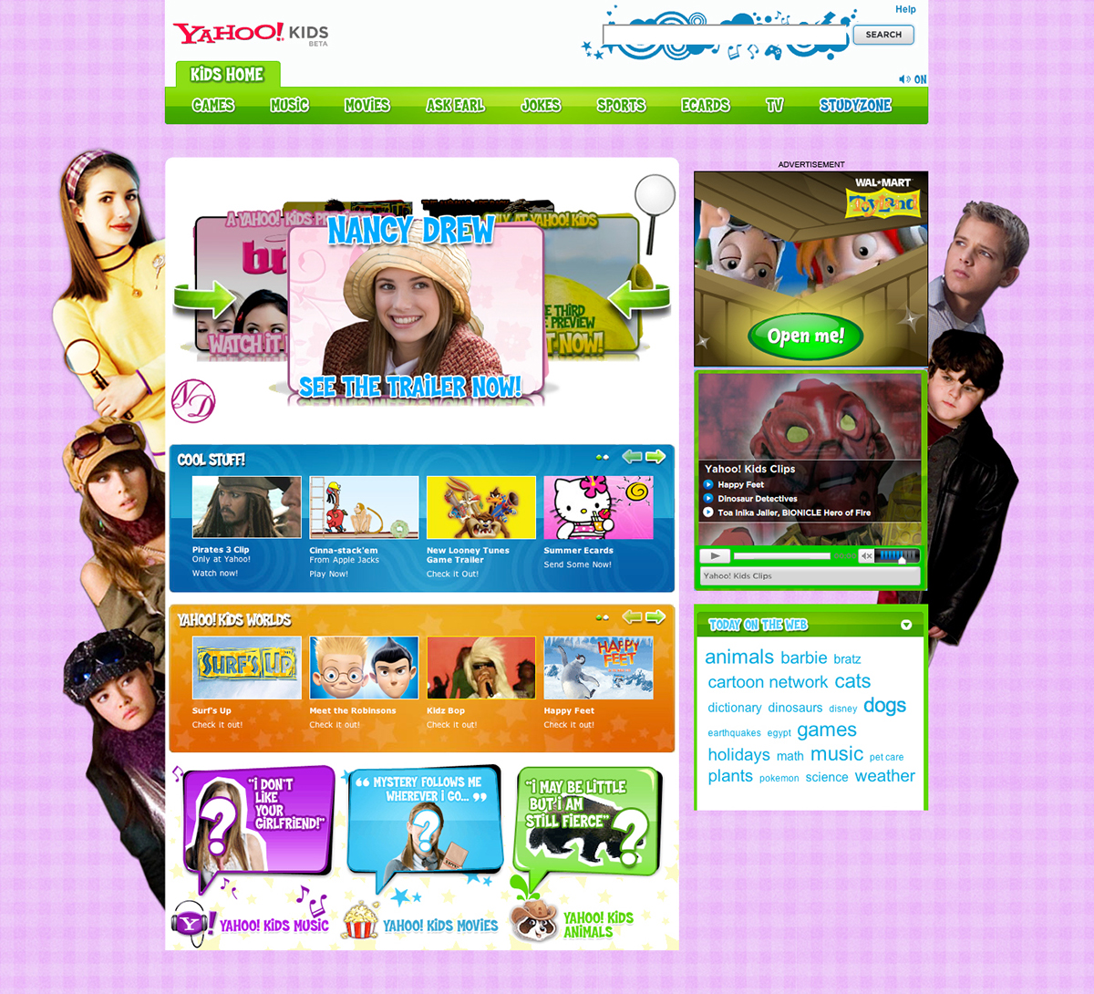 3d carousel panel to promote bratz movie on yahoo kids home page - Kids Home Pages
