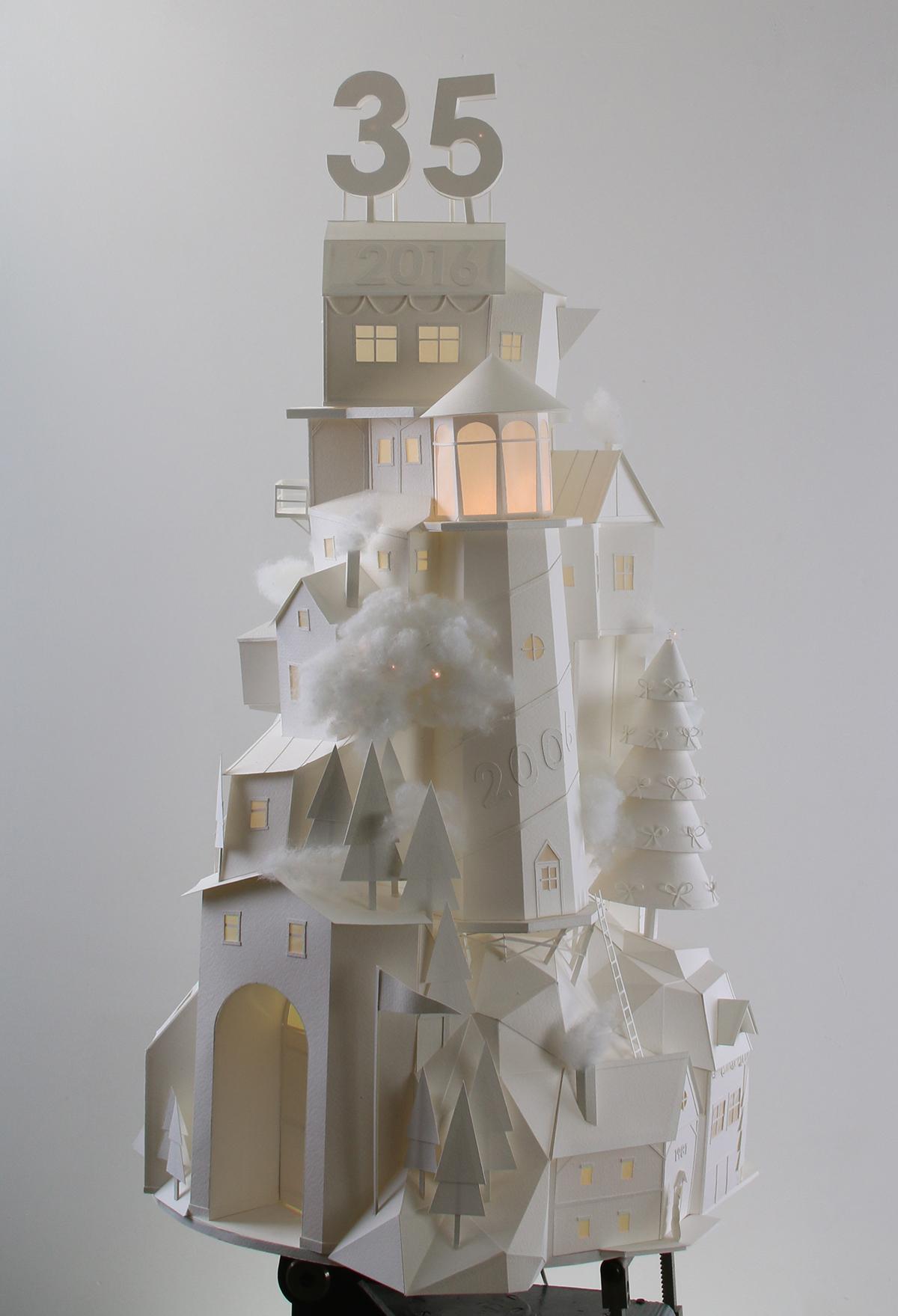 paper village Christmas paper art paper craft fine art craft stop motion