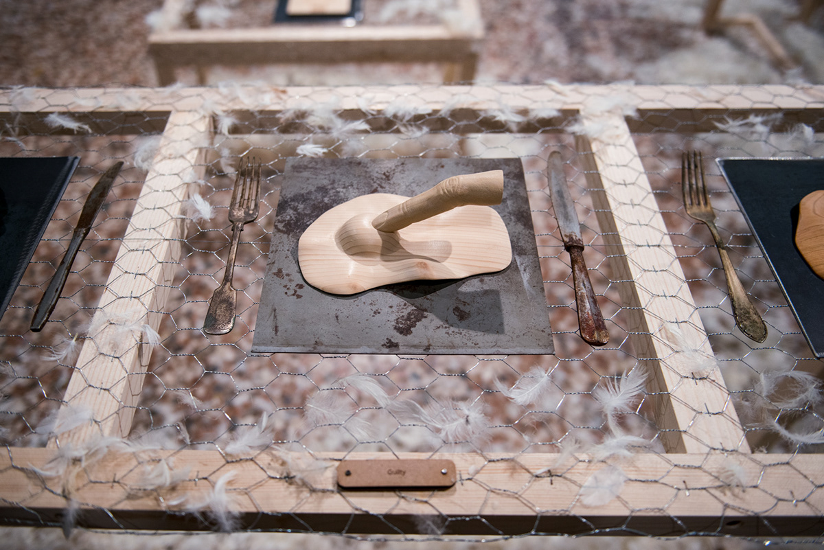 art wooden sculpture contemporary art handmade solo exhibition johnny hermann  fried egg