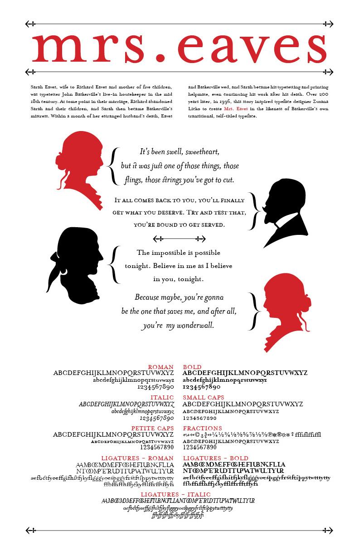 Mrs  Eaves Type Specimen Poster on Behance