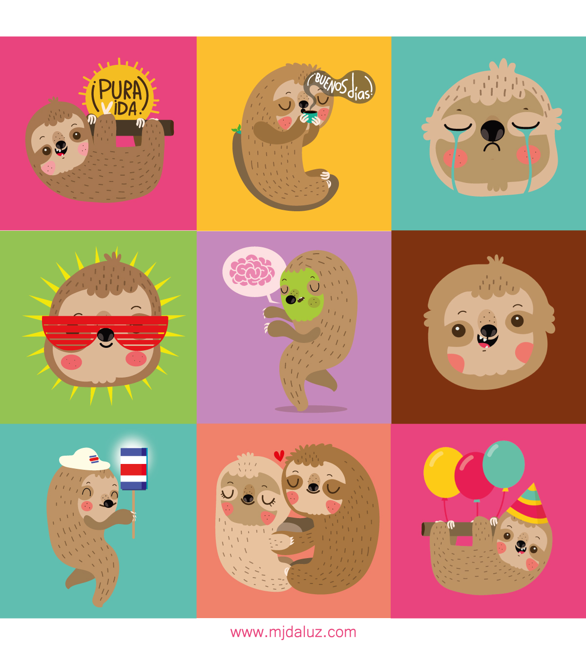 Viper stickers sloth Costa Rica vector cartoon