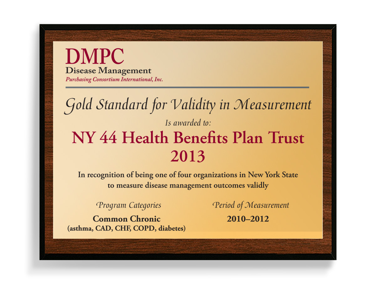 Disease Management Purchasing Consortium plaque
