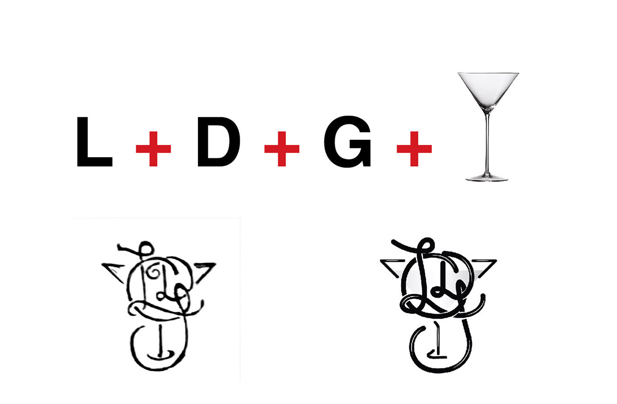 barmaid bar cocktail logo monograma monogram bartender Martini red black red and black