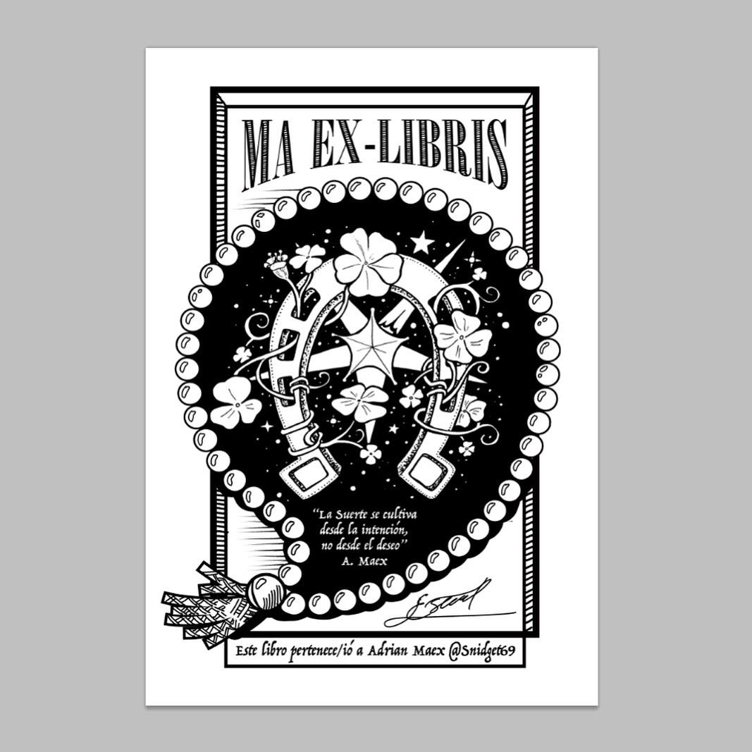 exlibris ink draw ilustration luck