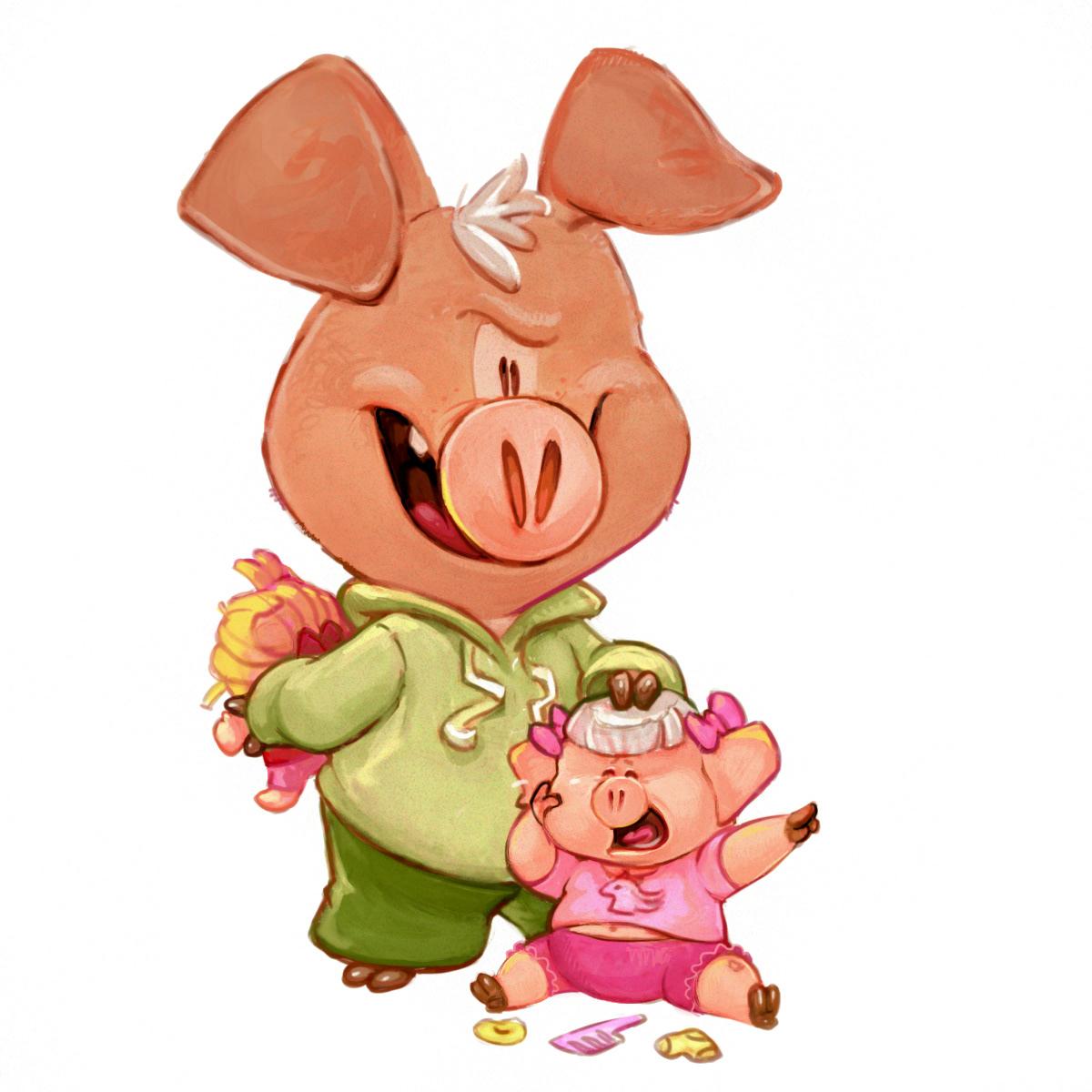 pig siblings digital art 2D sketch Drawing  Cry baby toy