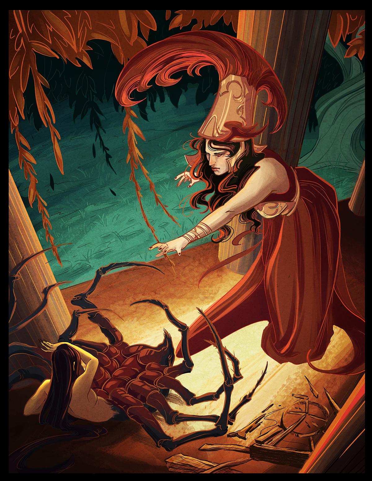 Athena and Arachne on Behance