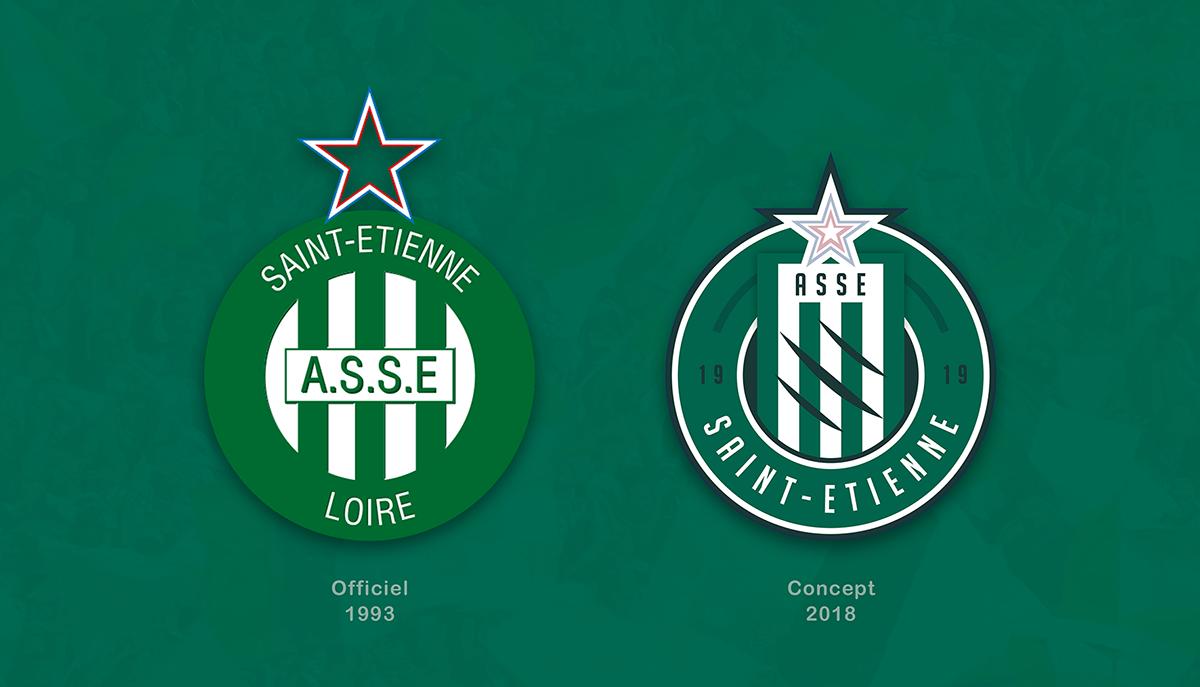 soccer Ligue 1 football france saint-etienne logo Rebrand sport Asse rebranding