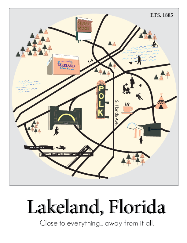 Lakeland Florida Map.Lakeland Florida Illustrated Map Poster On Behance