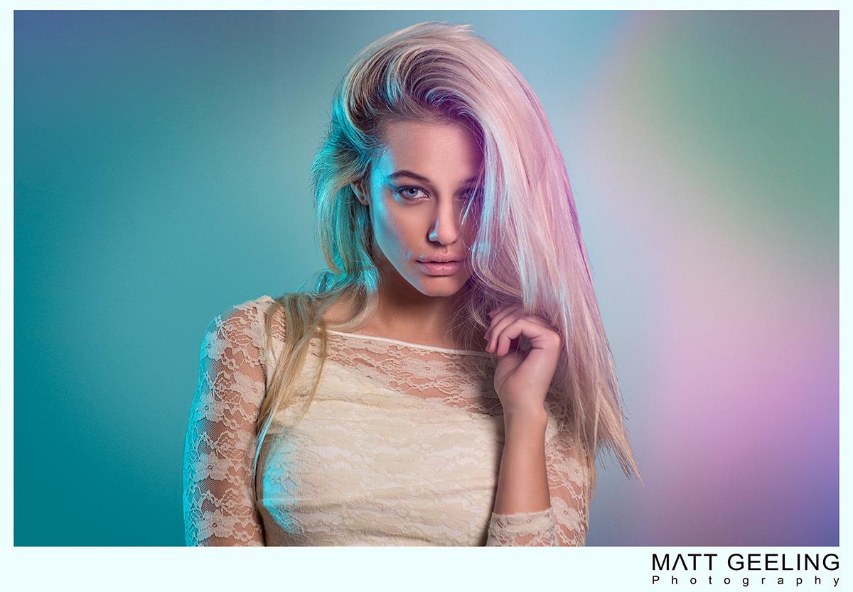 Matt Geeling Photography Juné Van Der westhuizen model beauty photography gels Colourful  colored gels Studio Photography fashion photography