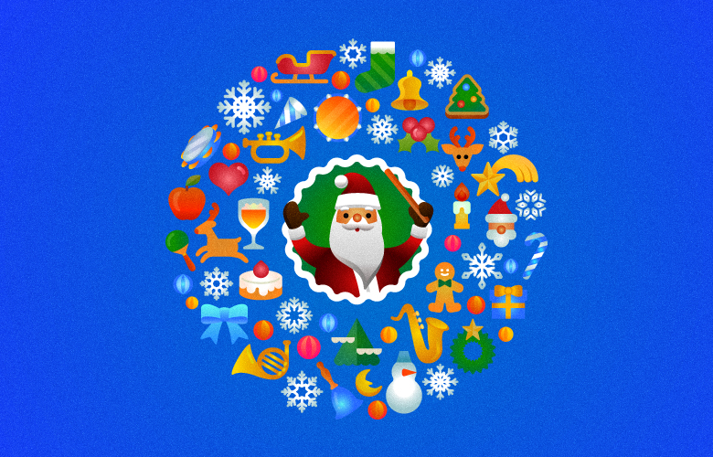 Christmas Character animal instrument santa SantaClaus deer illuminations japan illustrration Icon
