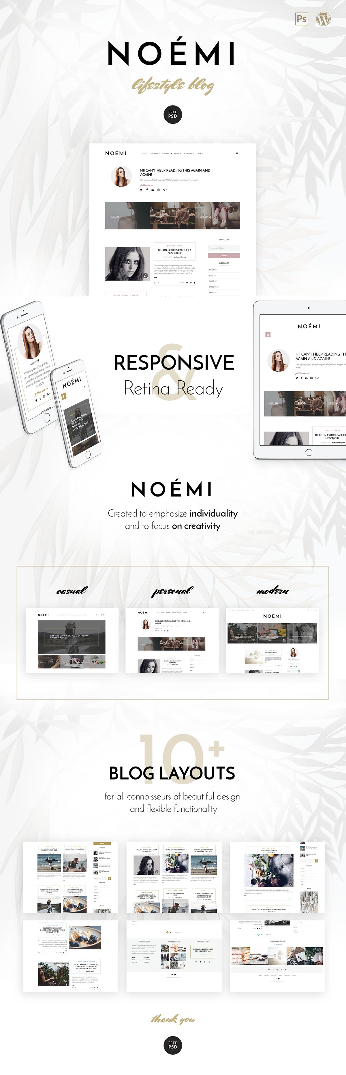 noemi Blog simple pure elegant Theme wordpress themeforest blogging  Beautiful