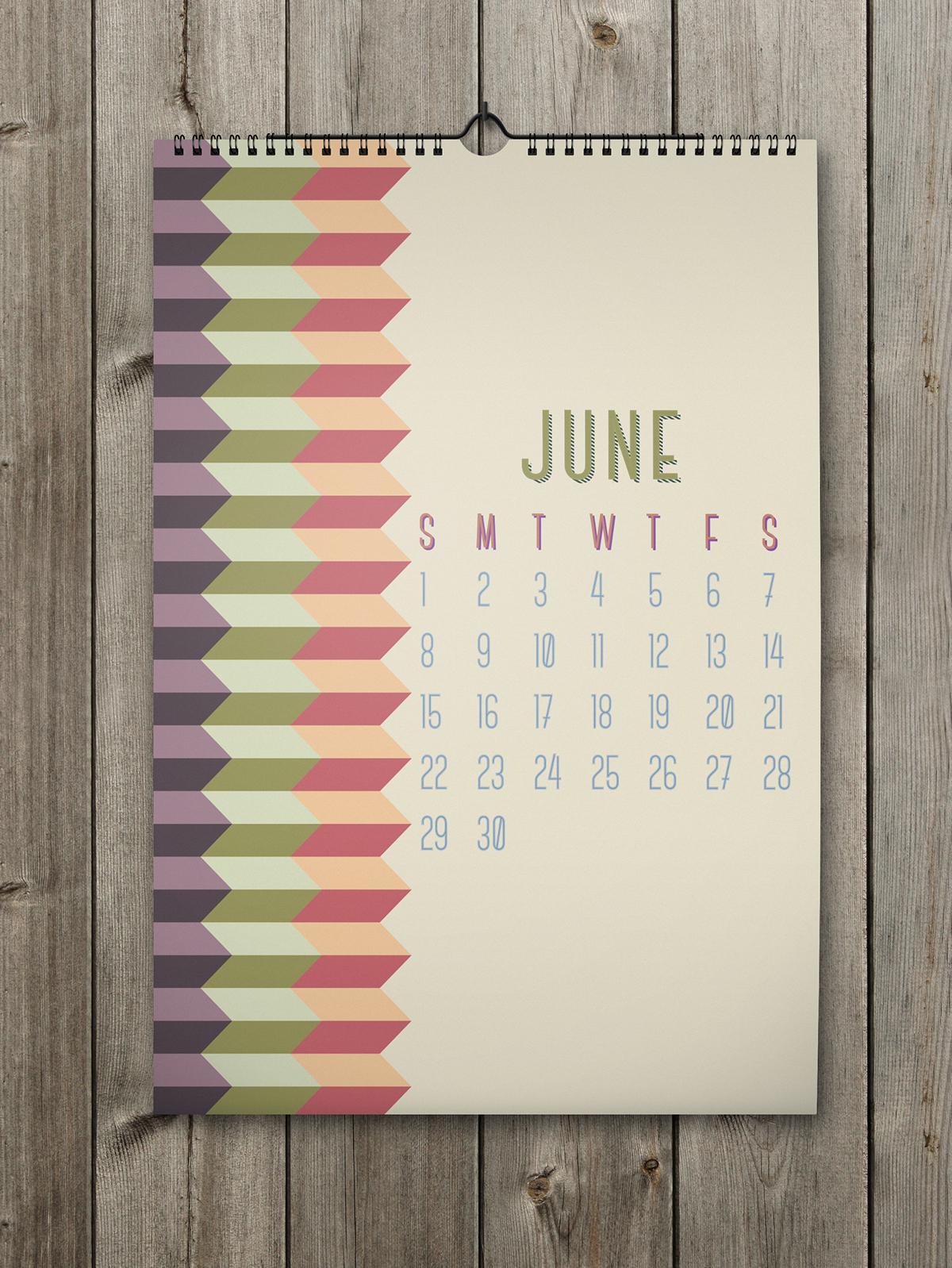 2014 Calendar shapes lines pattern new year agenda Christmas xmas colors Forms Palermo sicily abstract Shades calendario