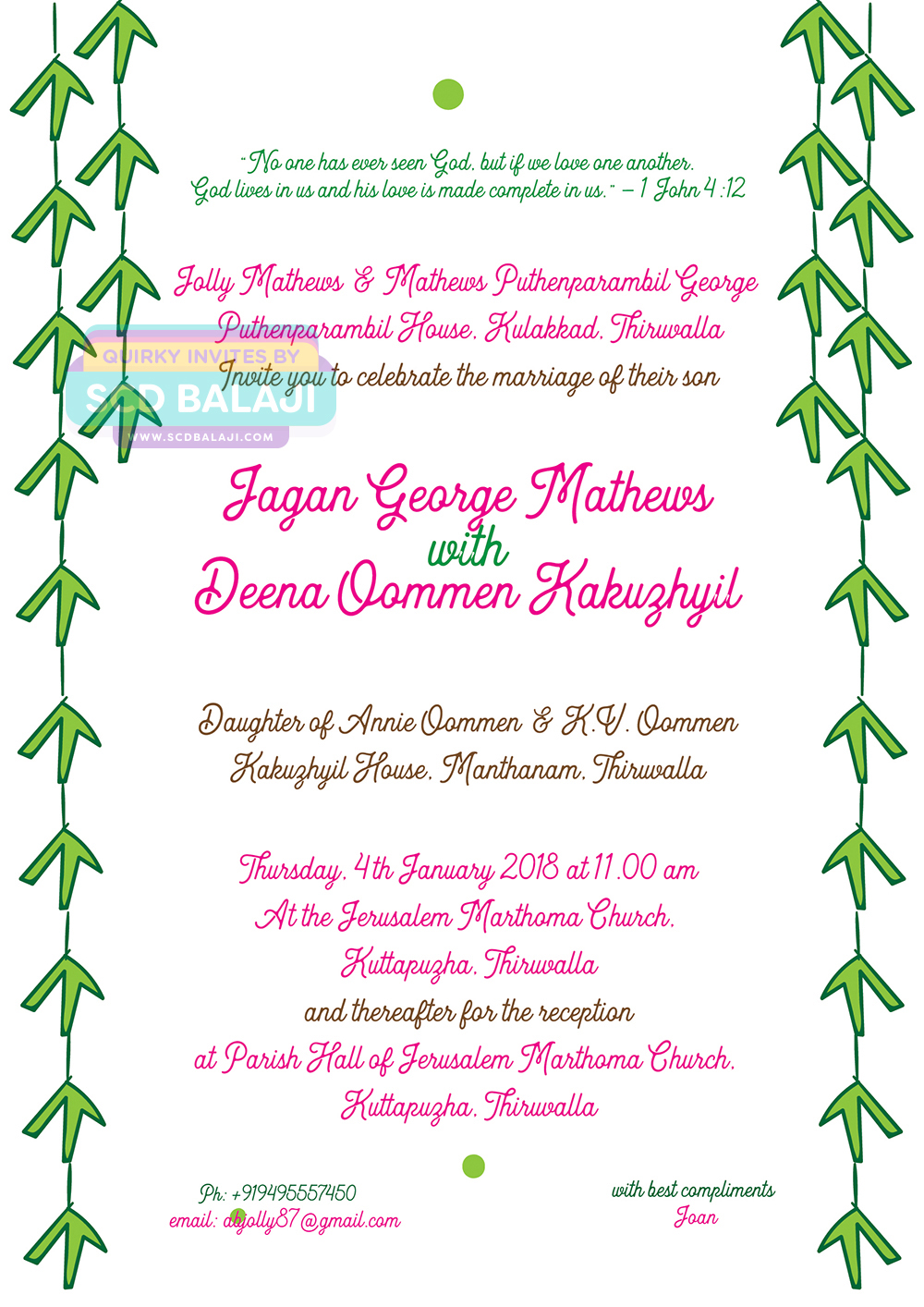 Kerala Christian Syrian Wedding Invitation Card Design on Behance – Wedding Invitation Christian