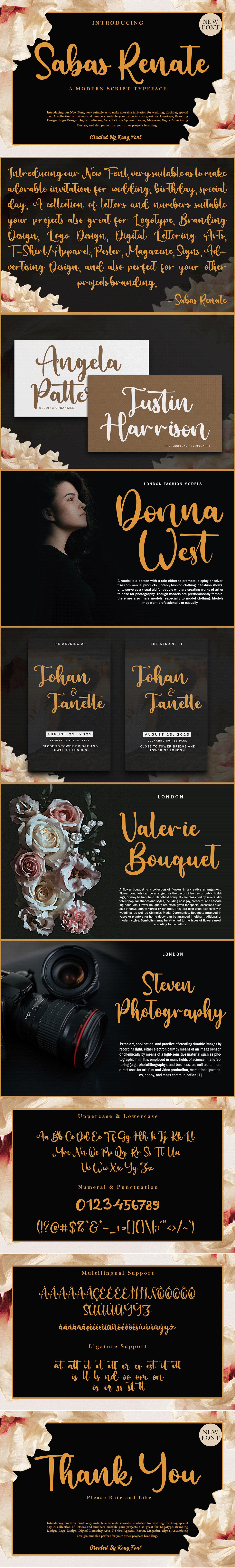 branding  font greeting card Invitation Logotype modern sabas renate Script Typeface youtubefont