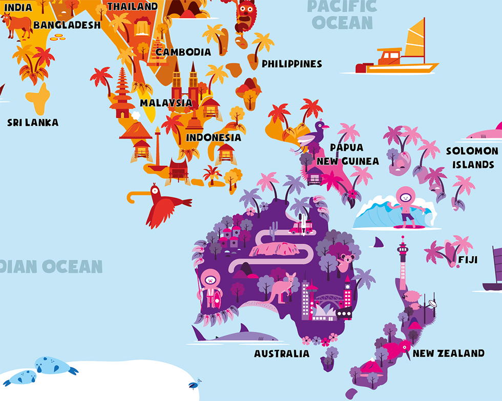World map on behance i made this illustrated world map for smart art education based in new zealand it will go to local schools and is available for sale on their website gumiabroncs