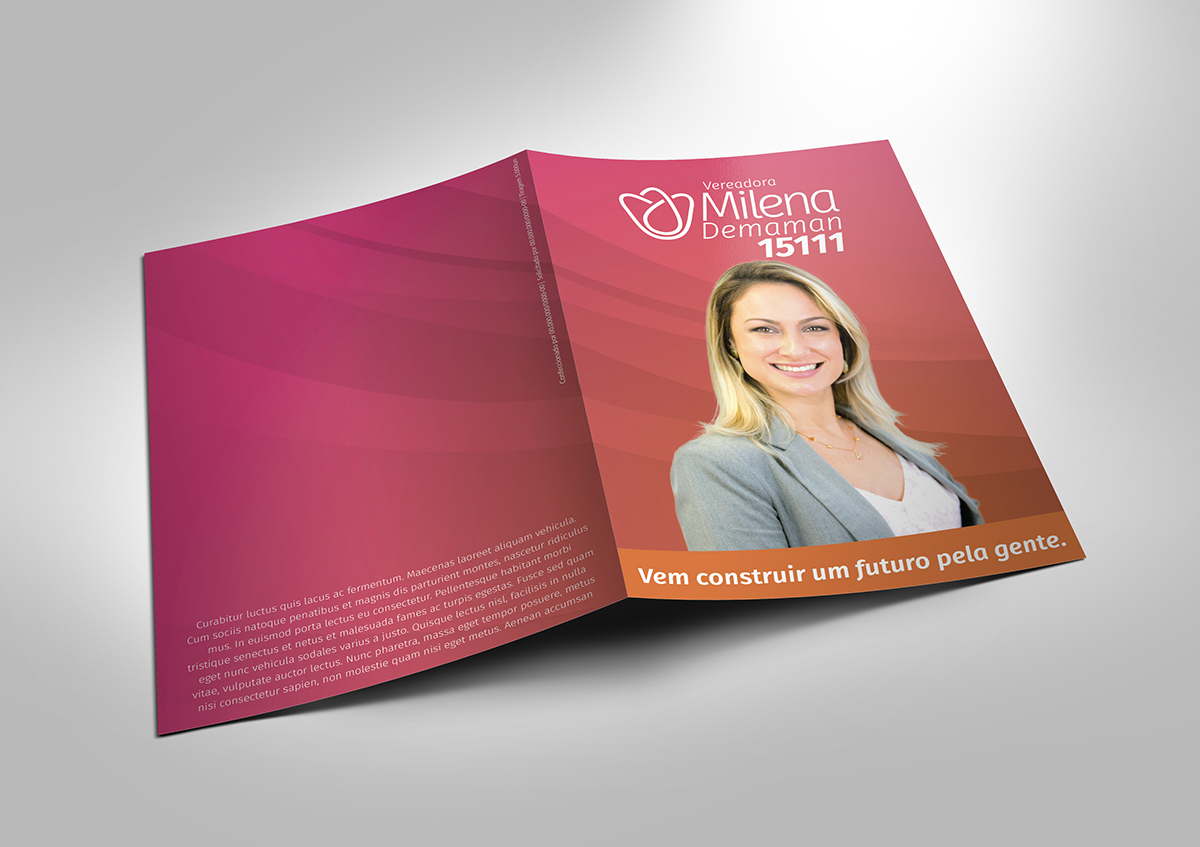 milena demaman identidade visual logo campanha Politica flat graphic design