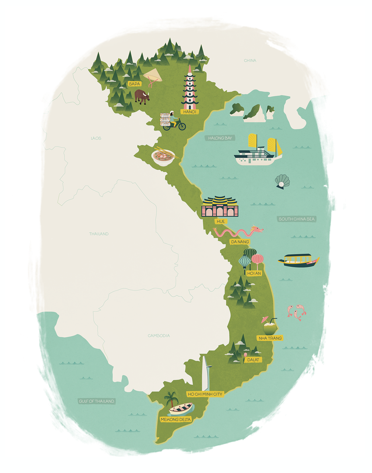 Vietnam Map & Icons on Behance