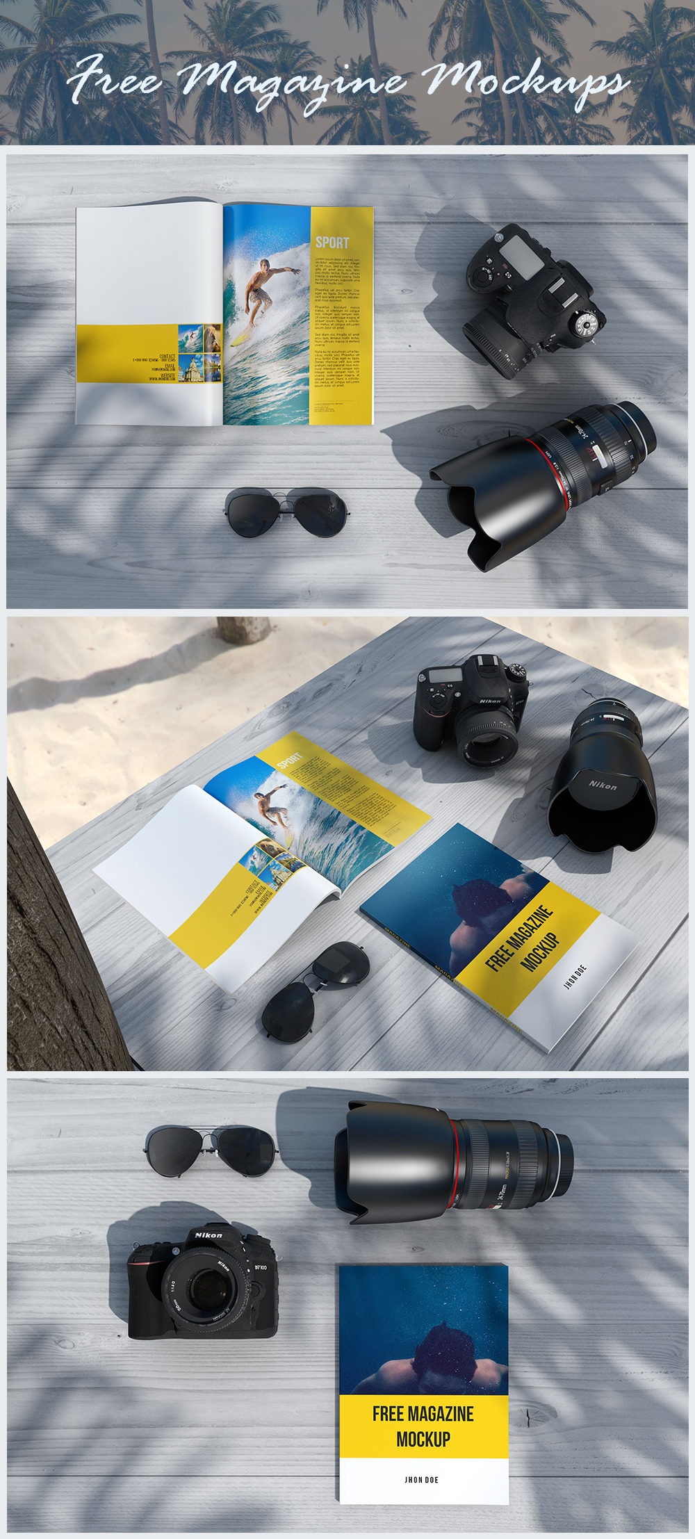 photographer beach magazine free mockups Mockup design graphic pixel freebie psd download Layout template InDesign