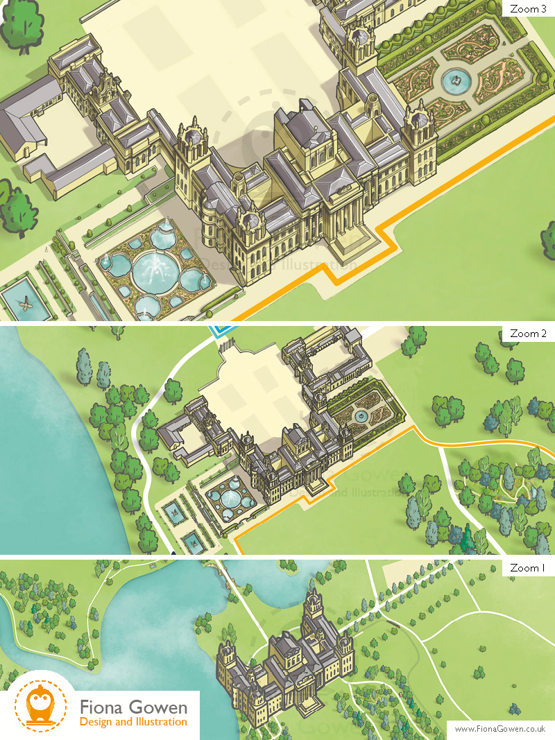 Blenheim palace illustration from the illustrated visitor map. by Fiona Gowen. Shown at three zoom levels.