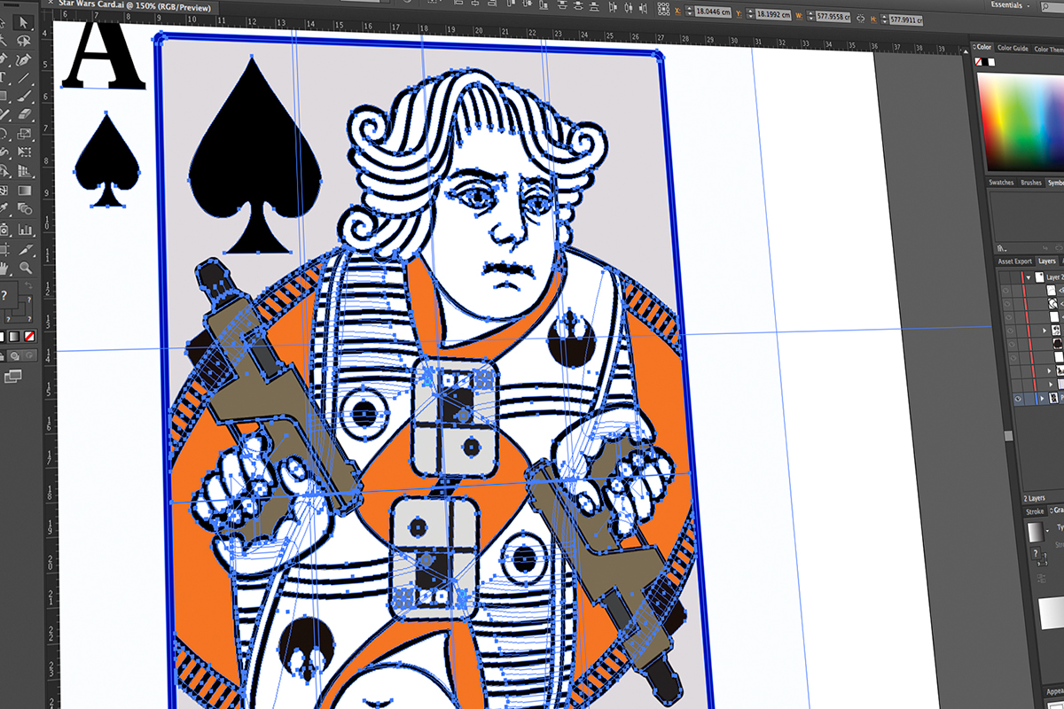 Rebel Aces star wars poe dameron Playing Cards poker cards Rebel Alliance classic illustration Vector Illustration