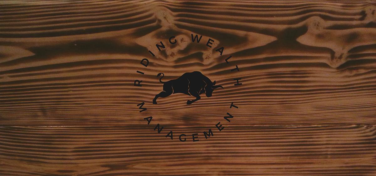 bull finance business Office logo brand wood rustic identity design