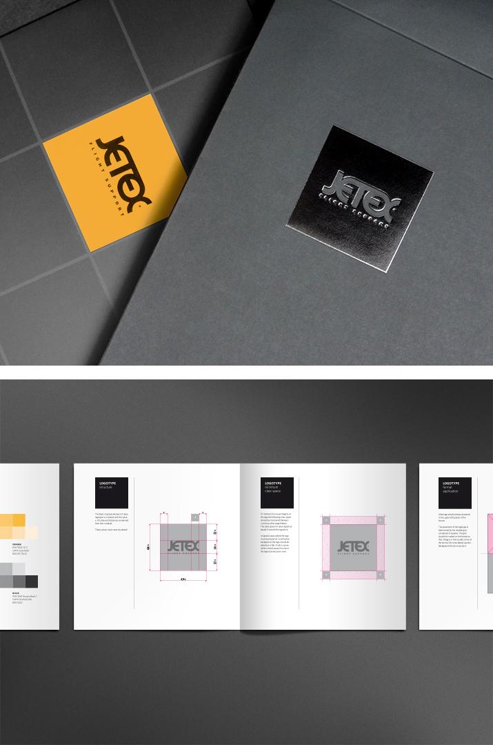 jetex flight support identity CI manual rules black orange bisinesscard brochure plane Jet aviation add