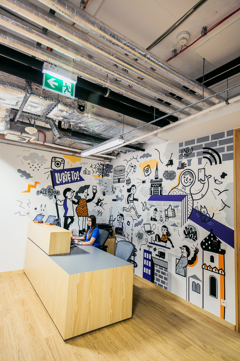 Facebook poland office mural 2016 on behance for Office design history