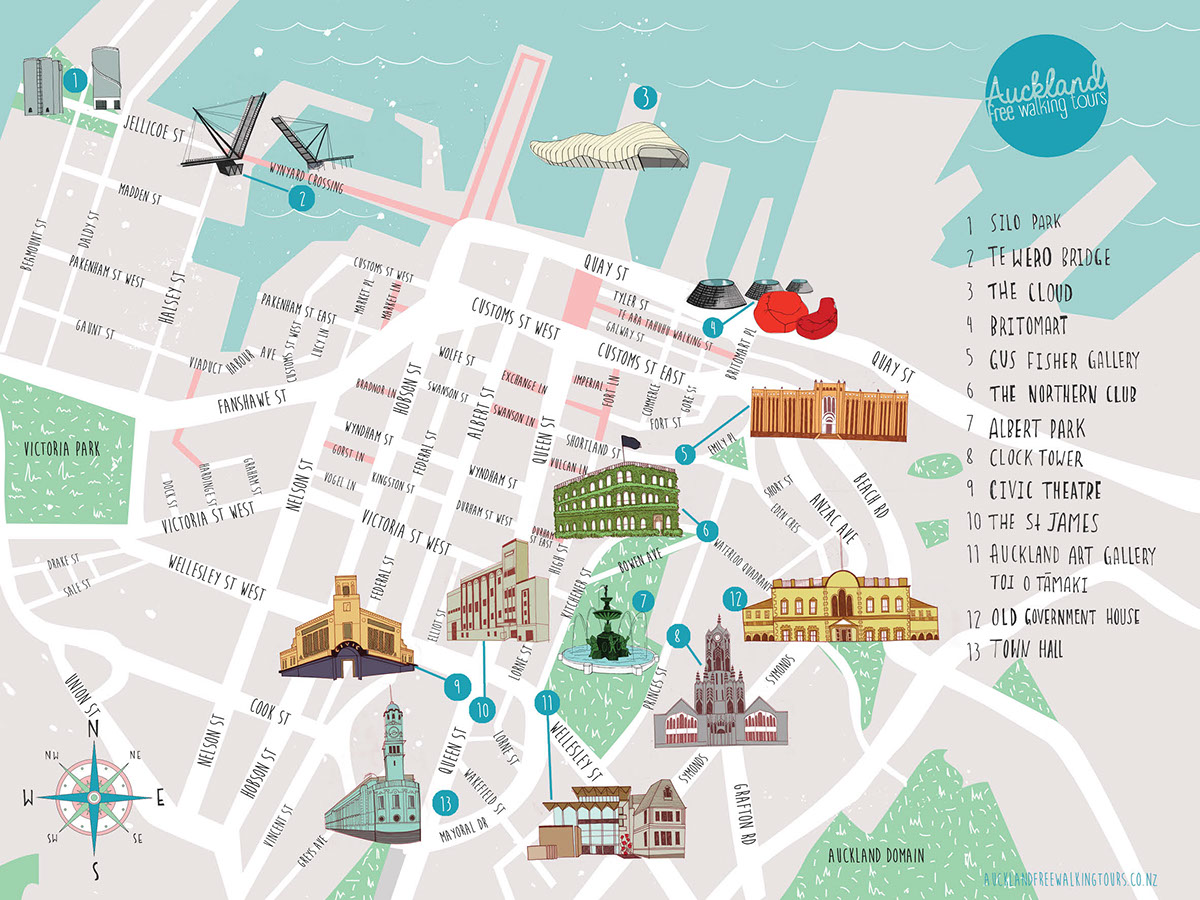 i was tasked with creating a functional map which highlighted key buildings in auckland i combined hand drawn elements with clean vector graphics to create