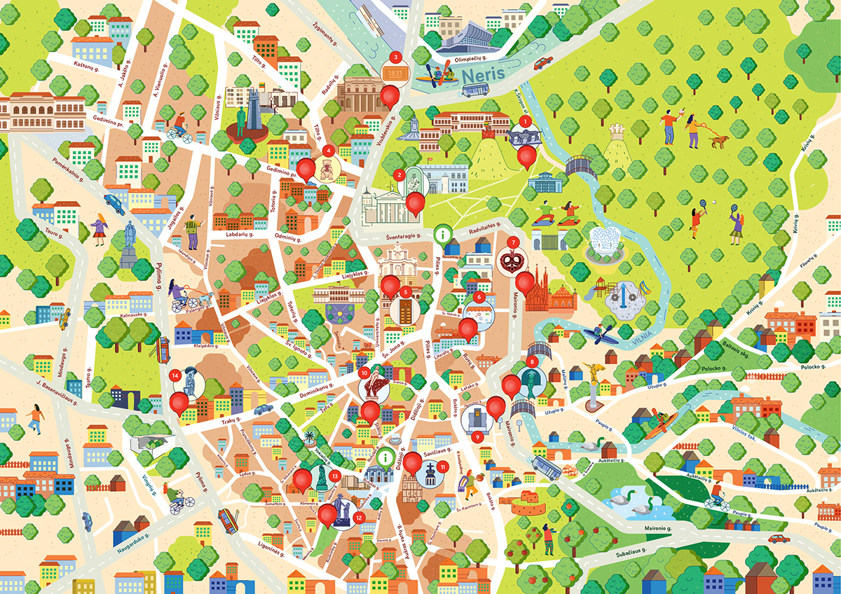 Illustrated map of Vilnius old town on Behance on map old town copenhagen, map chicago old town, map prague old town, map bucharest old town, map salzburg old town,
