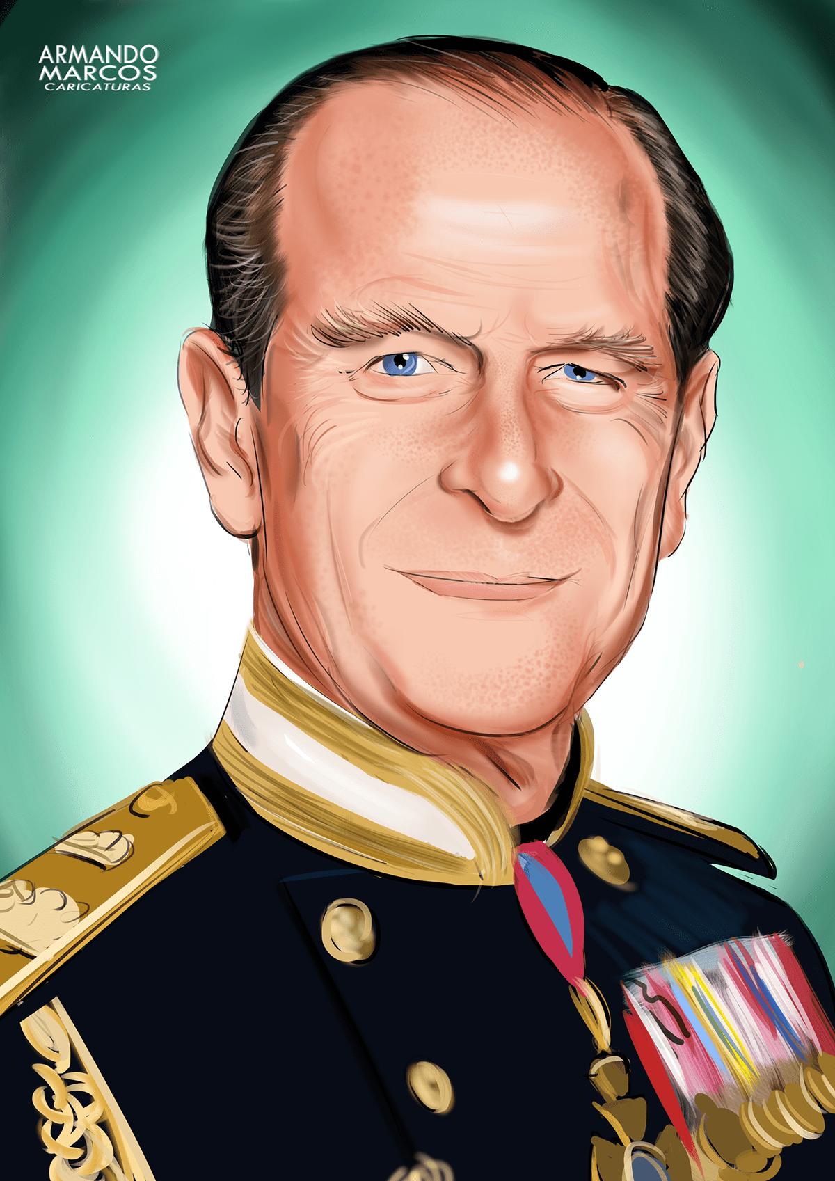 Adobe Portfolio #desenhodigital Caricatura Realista prince philip Digital Art  ilustration