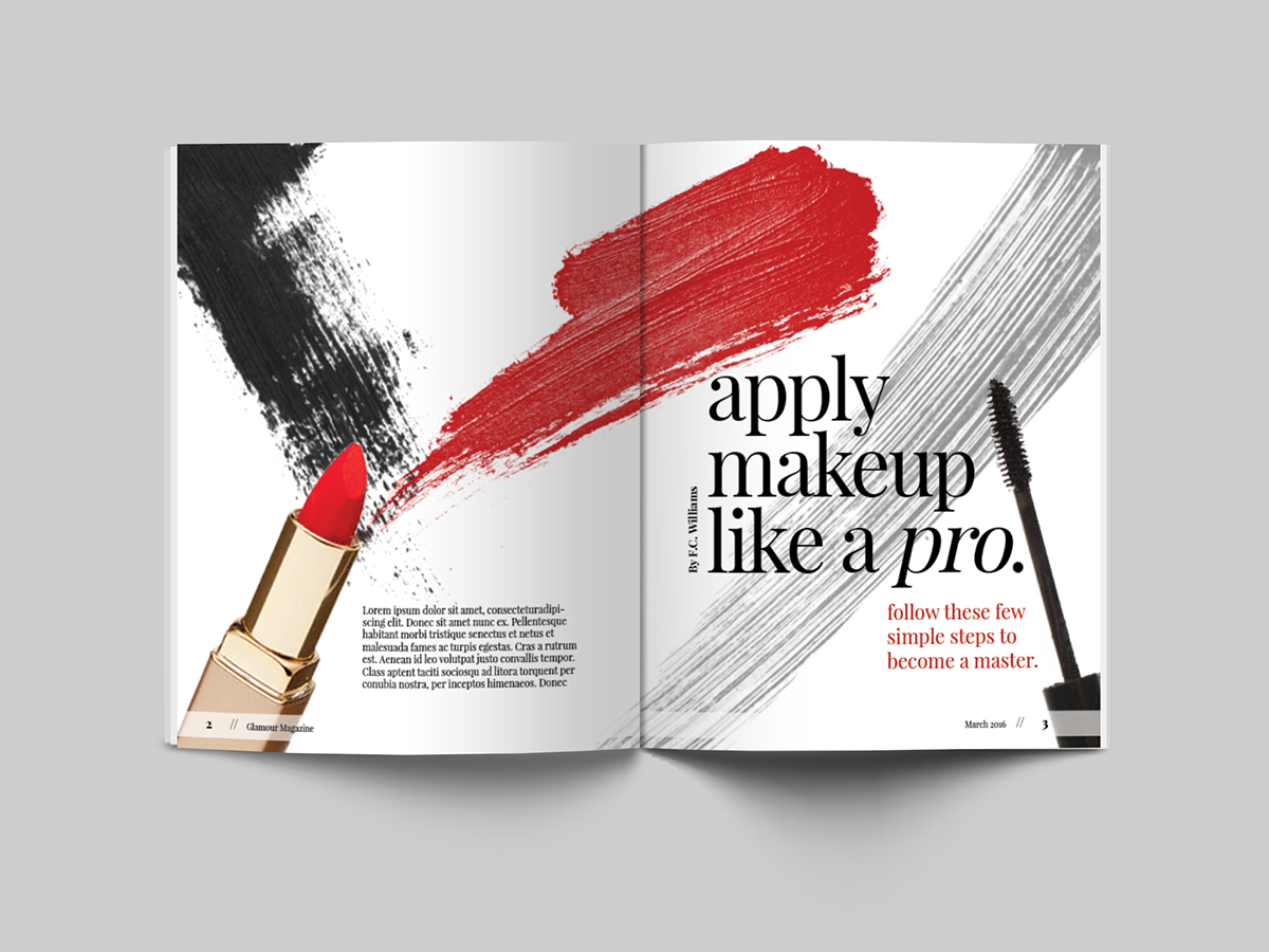 Apply Makeup Like A Pro , Magazine Spread on Behance