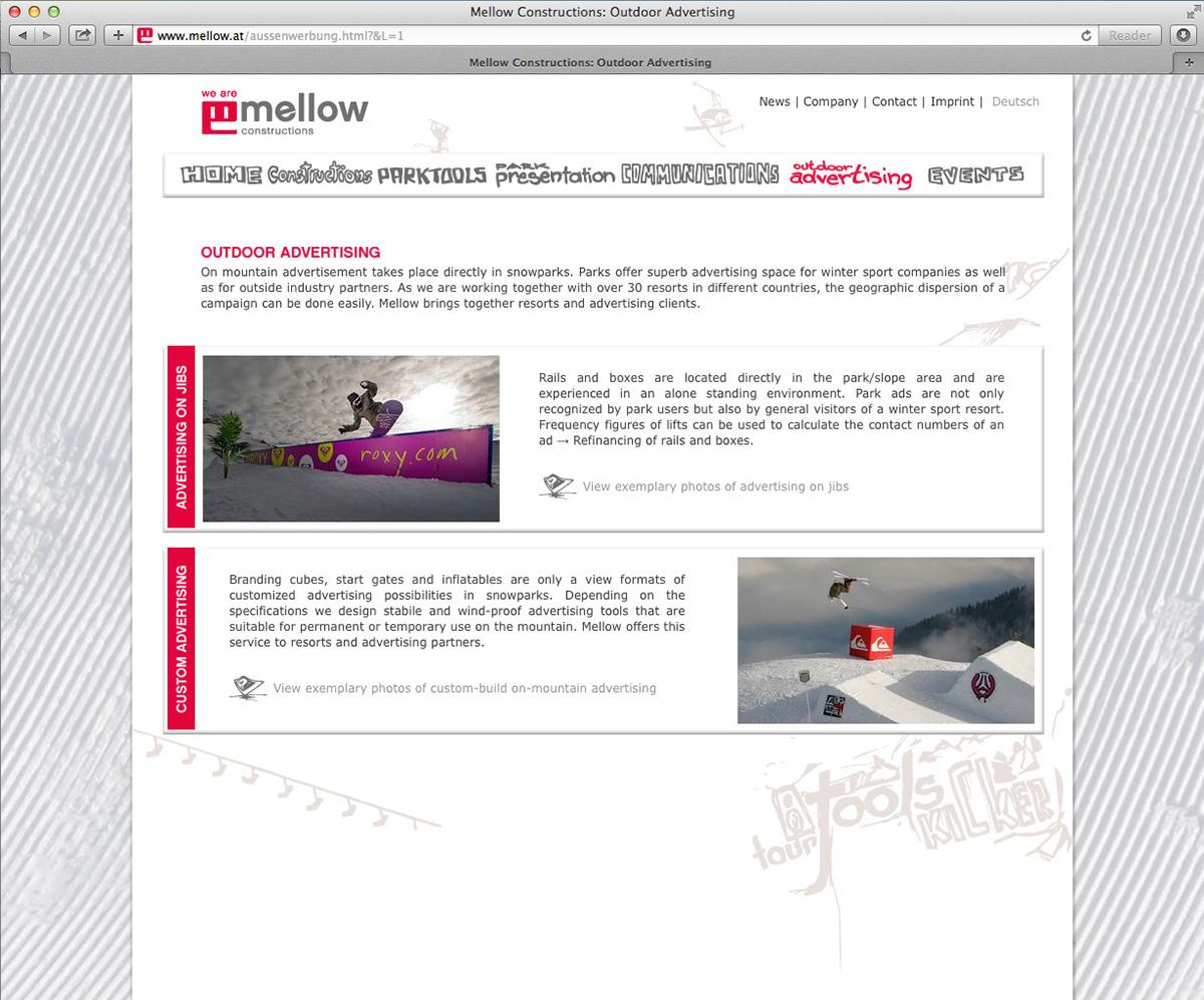 ui design UX design winter sport Mellow Constructions snowparks snowboard Ski Corporate Design