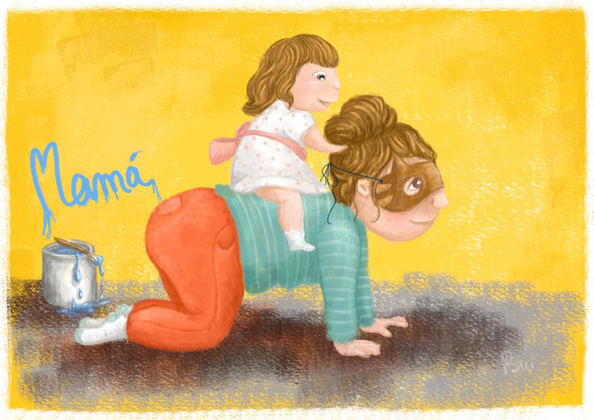 ilustración infantil dia madre