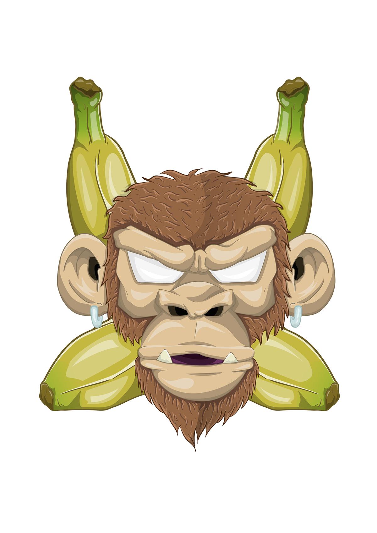 monkey Illustrator stickers Landy animals