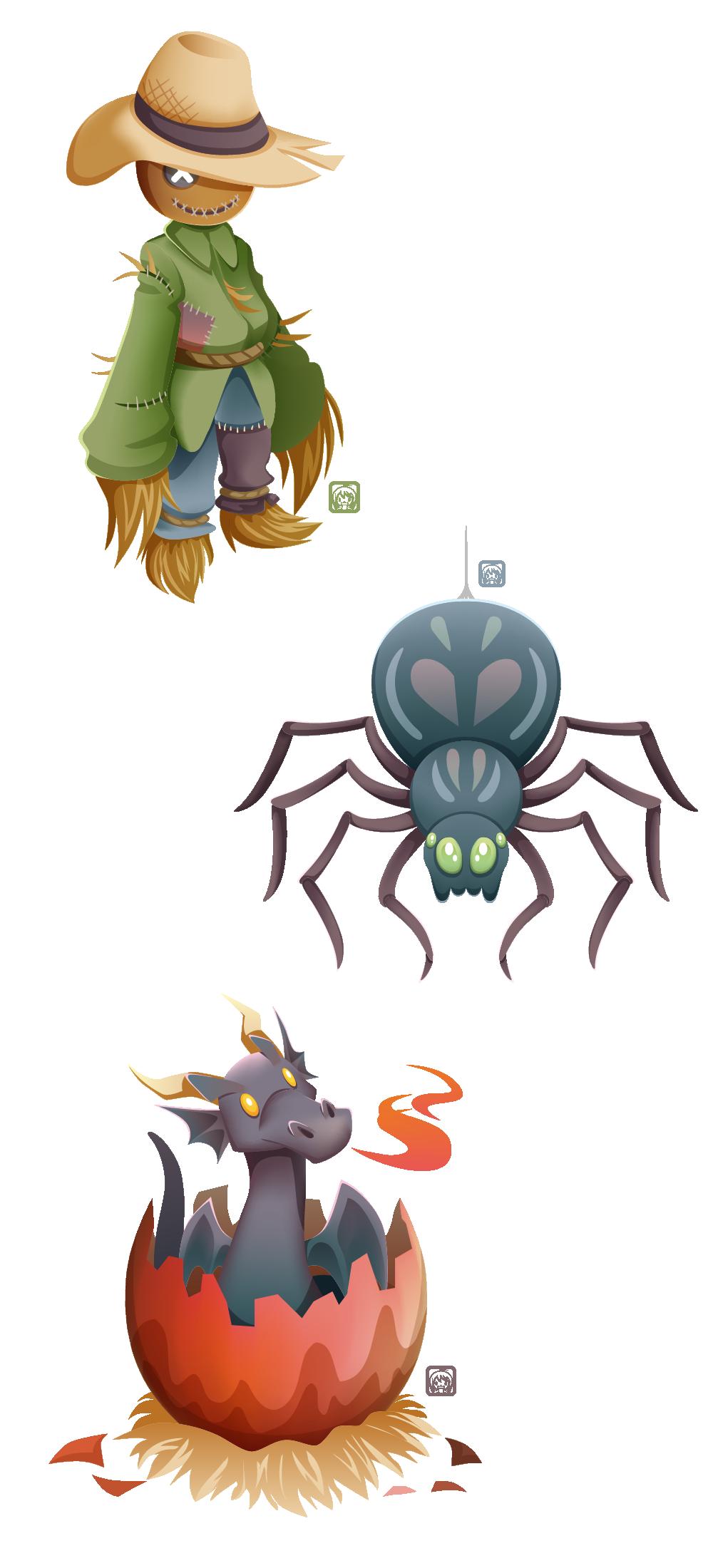 Halloween drawlloween inktober monster vector art witch mummy skeleton Candies Sweets scarecrow Cat spider spooky kids