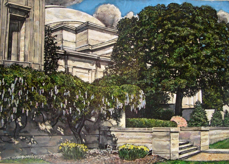 fine art Cherry blossoms spring painting   Landscape cathedral Capitol National Gallery