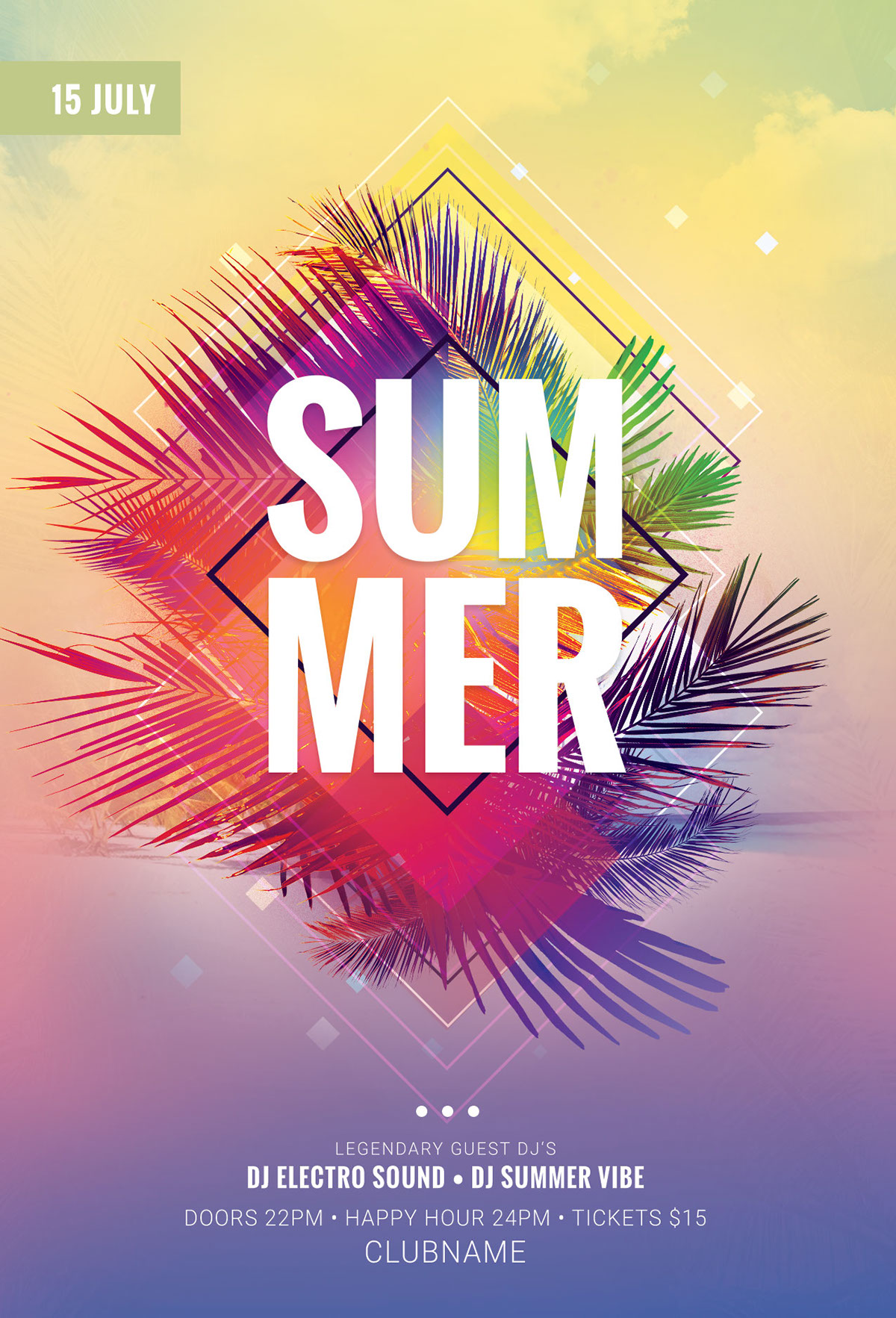 Summer flyer template on behance this psd flyer template is designed to promote a summer event maxwellsz