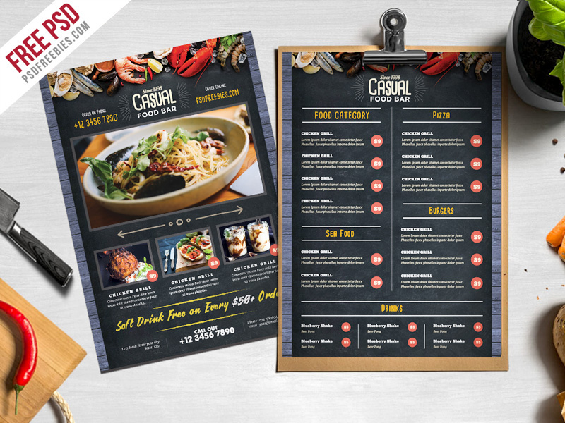 free psd chalkboard style food menu psd template on behance