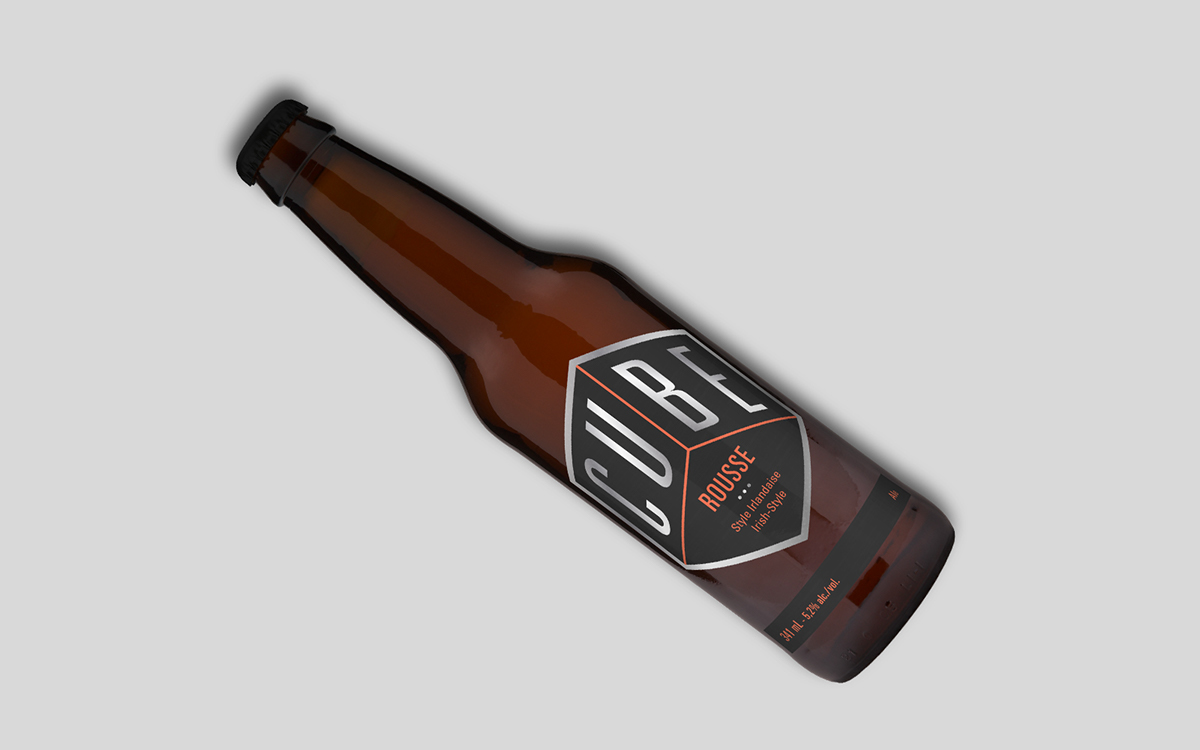 beer Microbrewery bottle cube foil silver Label