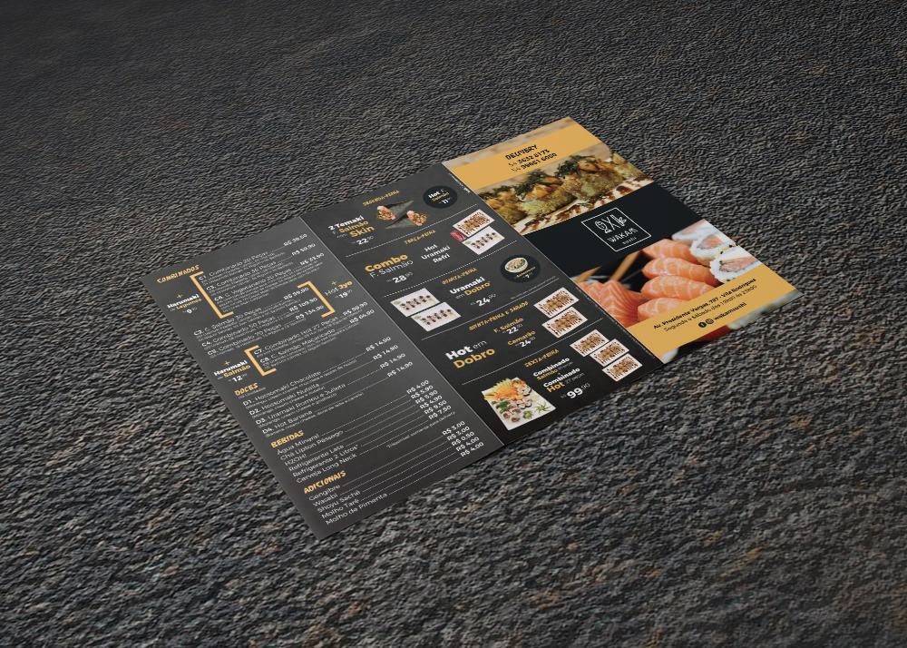 cardápio Sushi impresso folder delivery menu restaurante restaurant japanesefood Food