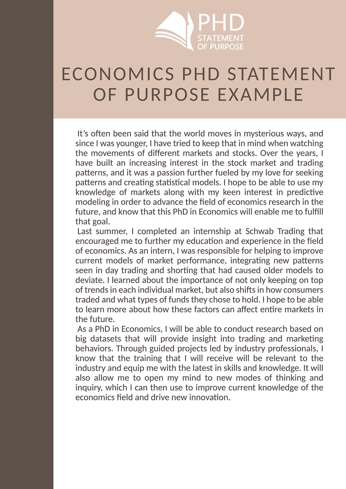 Economics PhD Statement of Purpose Example on Pantone Canvas